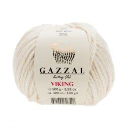 Gazzal Viking 4001 - to wełniano-akrylowa włóczka w kolorze kremowym. Cudna i mięciutka na zimowe akcesoria.