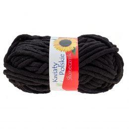 Kwiaty Polskie Słonecznik 332 to gruba pluszowa włóczka w kolorze czarnym wykonana w 100% z poliestru. W dotyku przypomina frotte.