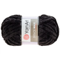 yarn art dolce maxi 742 gruba pluszowa włóczka w kolorze czarnym. Większa siostra sławnej Dolphin Baby, idealna na zabawki lub koce