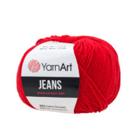 Włóczka Yarn Art Jeans 90 w kolorze rubinowym to kultowa propozycja największego tureckiego producenta. Jej skład to mieszanka bawełny z akrylem.