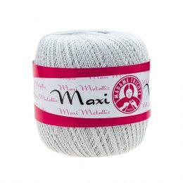 Madame Tricote Paris Maxi Metallic 1003, kolor srebrny. Jest to 100% bawełna merceryzowana w czarnym kolorze. Idealny na świąteczne ozdoby