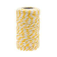 Sznurek bawełniany biało-żółtyidealnie sprawdzi się jako kreatywny dodatek do pakowania prezentów czy paczek w naturalnym, modnym ekostylu.
