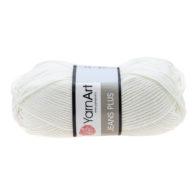 Yarn Art Jeans Plus 01 w kolorze białym. Powiększona wersja Yarn Art Jeans. To świetny wybór przy tworzeniu zabawek czy poduch.