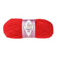 Alize Cotton Gold 56 czerwony. Bawełniano-akrylowa miękka włóczka o przyjemnym skręcie. Idealna na zabawki amigirumi i odzież wiosenno-letnią.