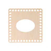 Baza do chustecznika kwadratowa gładka o wymiarach 17x17cm z owalnym otworem na wyciąganie chusteczek z denkiem o tych samych wymiarach.