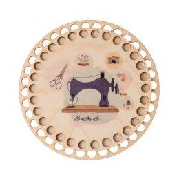 Baza do koszyka ze sznurka okrągła handmade. Zawiera gładką podstawę o średnicy 17cm oraz wzorzystą pokrywę o srednicy 15cm.