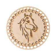 Baza do koszyka ze sznurka okrągła z wizerunkiem konia. Zawiera gładką podstawę o średnicy 17cm oraz wzorzystą pokrywę o średnicy 15cm.