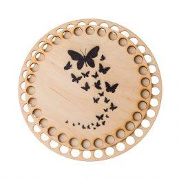 Baza do koszyka ze sznurka okrągła motyle. Zawiera gładką podstawę o średnicy 17cm oraz wzorzystą pokrywę o srednicy 15cm.
