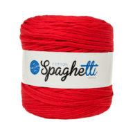 Cotton Spaghetti t-shirtowy czerwony to recyklingowy bawełniany sznurek do dziergania puf, koszyków, dywanów, plecaków i torebek.