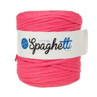 Cotton Spaghetti t-shirtowy różowy to recyklingowy bawełniany sznurek do dziergania puf, koszyków, dywanów, plecaków i torebek.