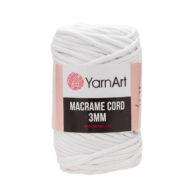 Włóczka Yarn Art Macrame Cord 3 mm 751 białyto 60% bawełny i 60% poliestru i wiskozy . Jej najbardziej charakterystyczną cechą jest przędzona struktura.