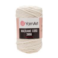 Włóczka Yarn Art Macrame Cord 3 mm 752 ecruto 60% bawełny i 60% poliestru i wiskozy . Jej najbardziej charakterystyczną cechą jest przędzona struktura.