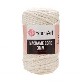 Włóczka Yarn Art Macrame Cord 3 mm 752 ecruto 60% bawełny i 40% poliestru i wiskozy . Jej najbardziej charakterystyczną cechą jest przędzona struktura.