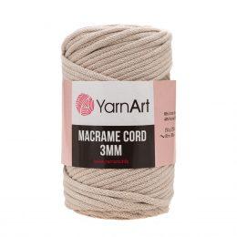 Włóczka Yarn Art Macrame Cord 3 mm 753 beżto 60% bawełny i 40% poliestru i wiskozy . Jej najbardziej charakterystyczną cechą jest przędzona struktura.