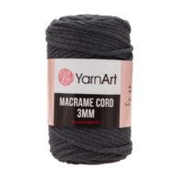 Włóczka Yarn Art Macrame Cord 3 mm 758 grafitto 60% bawełny i 60% poliestru i wiskozy . Jej najbardziej charakterystyczną cechą jest przędzona struktura.