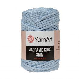 Włóczka Yarn Art Macrame Cord 3mm 760 błękit to 60% bawełny i 40% poliestru i wiskozy . Jej najbardziej charakterystyczną cechą jest przędzona struktura
