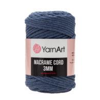 Włóczka Yarn Art Macrame Cord 3 mm 761 jeansto 60% bawełny i 60% poliestru i wiskozy . Jej najbardziej charakterystyczną cechą jest przędzona struktura.