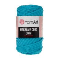 Włóczka Yarn Art Macrame Cord 3mm 763 niebieski to 60% bawełny i 60% poliestru i wiskozy . Jej najbardziej charakterystyczną cechą jest przędzona struktura