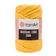 Włóczka Yarn Art Macrame Cord 3 mm 764 żółtyto 60% bawełny i 60% poliestru i wiskozy . Jej najbardziej charakterystyczną cechą jest przędzona struktura.