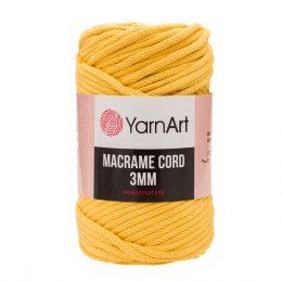 Włóczka Yarn Art Macrame Cord 3 mm 764 żółtyto 60% bawełny i 40% poliestru i wiskozy . Jej najbardziej charakterystyczną cechą jest przędzona struktura.