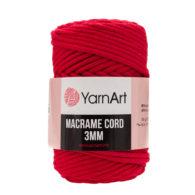 Włóczka Yarn Art Macrame Cord 3 mm 773 czerwonyto 60% bawełny i 60% poliestru i wiskozy . Jej najbardziej charakterystyczną cechą jest przędzona struktura.