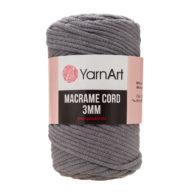 Włóczka Yarn Art Macrame Cord 3 mm 774 ciemny szaryto 60% bawełny i 60% poliestru i wiskozy . Jej najbardziej charakterystyczną cechą jest przędzona struktura.