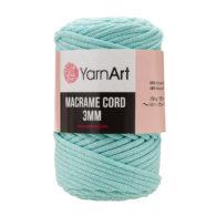 Włóczka Yarn Art Macrame Cord 3mm 775 miętato 60% bawełny i 60% poliestru i wiskozy . Jej najbardziej charakterystyczną cechą jest przędzona struktura