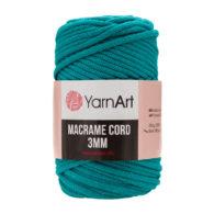 Włóczka Yarn Art Macrame Cord 3mm 783 morskito 60% bawełny i 60% poliestru i wiskozy . Jej najbardziej charakterystyczną cechą jest przędzona struktura.