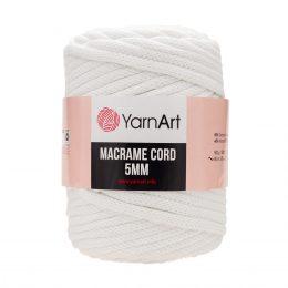 Włóczka Yarn Art Macrame Cord 5mm 751 biały to 60% bawełny i 60% poliestru i wiskozy . Jej najbardziej charakterystyczną cechą jest przędzona struktura.