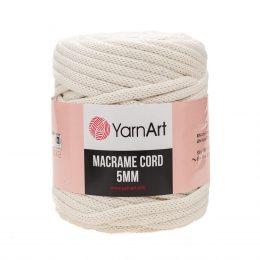 Włóczka Yarn Art Macrame Cord 5mm 752 ecru to 60% bawełny i 60% poliestru i wiskozy . Jej najbardziej charakterystyczną cechą jest przędzona struktura.