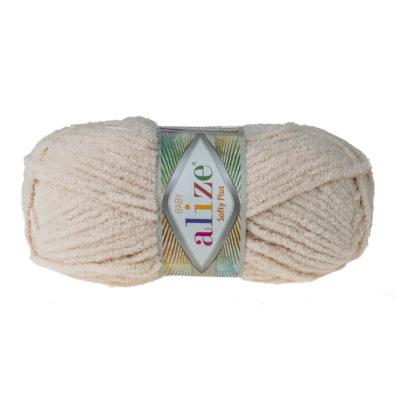 Alize Softy Plus 310 beż mięciutka włochata włóczka idealna na maskotki, szale, poduchy i koce. Struktura trawki daje piękny fantazyjny efekt.