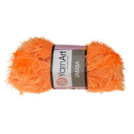 Włóczka Yarn Art Samba 07 pomarańczto w 100% poliester. Jej najbardziej charakterystyczną cechą jest włochata struktura.