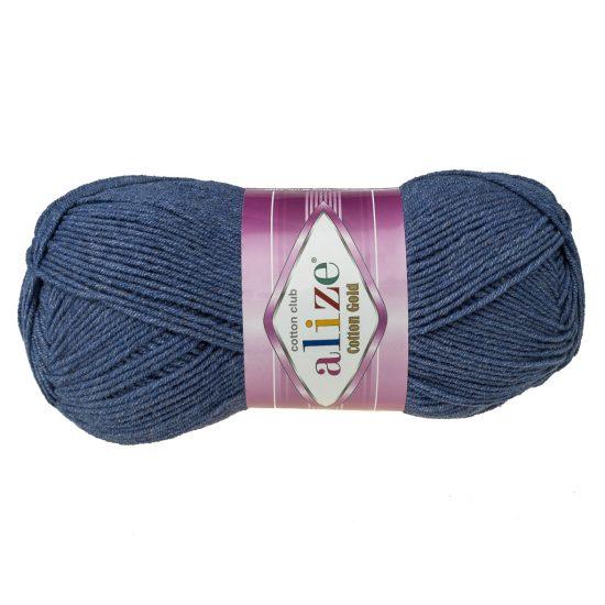 Alize Cotton Gold 203 ciemny jeans. Bawełniano-akrylowa miękka włóczka o przyjemnym skręcie. Idealna na zabawki amigirumi i odzież wiosenno-letnią.