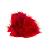 Pompon czerwony o średnicy 10cm ze sztucznego futerka. Idealny dodatek do zimowej czapki lub breloka. Można stosować również do ozdabiania robótek.