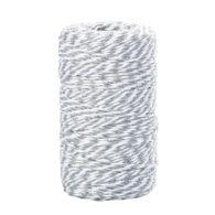 Sznurek bawełniany biało-szary idealnie sprawdzi się jako kreatywny dodatek do pakowania prezentów czy paczek w naturalnym, modnym ekostylu.
