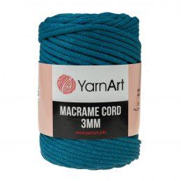 Włóczka Yarn Art Macrame Cord 3 mm 789 petrol to 60% bawełny i 40% poliestru i wiskozy . Jej najbardziej charakterystyczną cechą jest przędzona struktura.