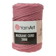 Włóczka Yarn Art Macrame Cord 3 mm 792 brudny róż to 60% bawełny i 40% poliestru i wiskozy . Jej najbardziej charakterystyczną cechą jest przędzona struktura.