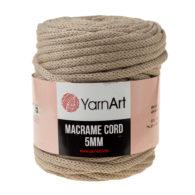 Włóczka Yarn Art Macrame Cord 5mm 768 lniany to 60% bawełny i 60% poliestru i wiskozy . Jej najbardziej charakterystyczną cechą jest przędzona struktura.