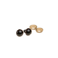 Oczy bezpieczne brązowe 15mm do zabawek amigurumi wraz z zatyczkami. Kolor czarny błyszczący w środku, brązowa obwódka. Cena za parę.