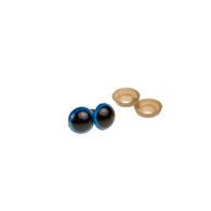 Oczy bezpieczne niebieskie 15mm do zabawek amigurumi wraz z zatyczkami. Kolor czarny błyszczący w środku, niebieska obwódka. Cena za parę.