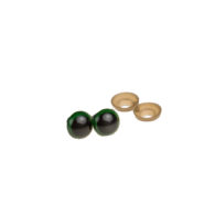 Oczy bezpieczne zielone 15mm do zabawek amigurumi wraz z zatyczkami. Kolor czarny błyszczący w środku, zielona obwódka. Cena za parę.