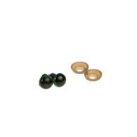 Oczy bezpieczne zielone 7mm do zabawek amigurumi wraz z zatyczkami. Kolor czarny błyszczący, zielona obwódka. Cena za parę.