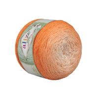 Alize Bella Ombre Batik 7403 to przepiękna cukierkowa bawełna ombre w odcieniach pomarańczu.Motki o wadze 250g mają aż 900 metrów!
