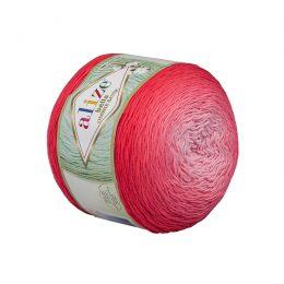 Alize Bella Ombre Batik 7404 to przepiękna cukierkowa bawełna ombre w odcieniach czerwieni.Motki o wadze 250g mają aż 900 metrów!