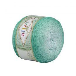 Alize Bella Ombre Batik 7408 to przepiękna cukierkowa bawełna ombre w odcieniach mięty.Motki o wadze 250g mają aż 900 metrów!