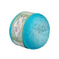 Alize Bella Ombre Batik 7409 to przepiękna cukierkowa bawełna ombre w odcieniach turkusu.Motki o wadze 250g mają aż 900 metrów!