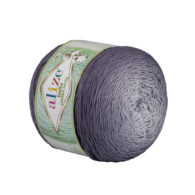 Alize Bella Ombre Batik 7411 to przepiękna cukierkowa bawełna ombre w odcieniach szarości.Motki o wadze 250g mają aż 900 metrów!