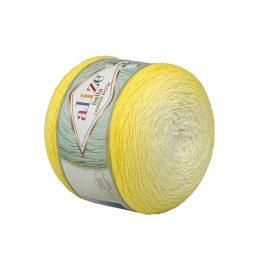 Alize Bella Ombre Batik 7414 to przepiękna cukierkowa bawełna ombre w odcieniach cytrynki.Motki o wadze 250g mają aż 900 metrów!