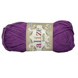 Włóczka Alize Bella 45 w kolorze fioletowym. 100% bawełny. Naturalna propozycja do amigurumi. Długość metrów w motku to aż 180!:)
