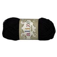 Włóczka Alize Bella 60 w kolorze czarnym. 100% bawełny. Naturalna propozycja do amigurumi. Długość metrów w motku to aż 180!:)